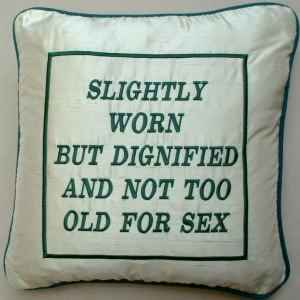 af7cf0094 SLIGHTLY WORN | Embroidered cushion gift for older birthday - Age